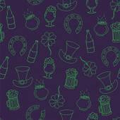 Svatý Patrick den bezešvé vzor s pivem, balík peněz, fo