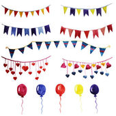Watercolor set vintage garlands and balloons for party and wedding decoration Vector desidn elements isolated on white background