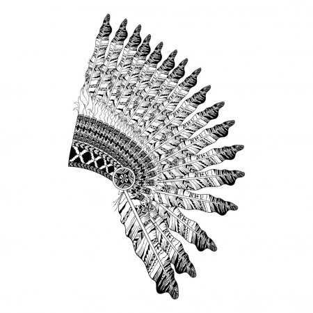 Feathered War bannet in zentangle style, Headdress for Indian Ch