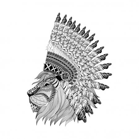 Lion face in feathered war bannet in zentangle style, Headdress
