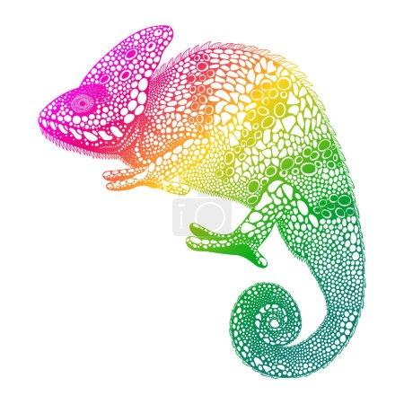 Zentangle stylized  multi coloured Chameleon. Hand Drawn Reptile