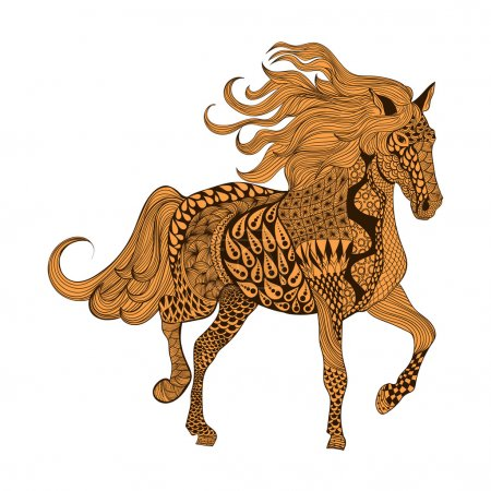 Zentangle stylized Brown Horse. Hand Drawn doodle vector illustr