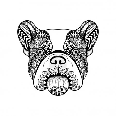 Zentangle stylized French Bulldog face. Hand Drawn Dog doodle ve