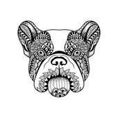 Zentangle stylizované Francouzský buldoček tvář. Ručně tažené psí čmáranice ve