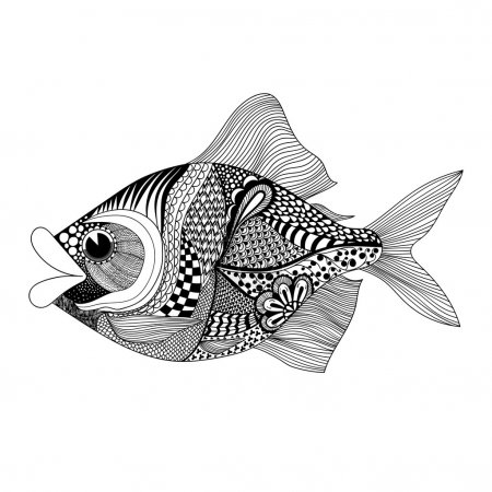 Illustration for Zentangle stylized Fish. Hand Drawn doodle vector illustration isolated on white background. Sketch for tattoo or makhenda. Sea food collection. - Royalty Free Image