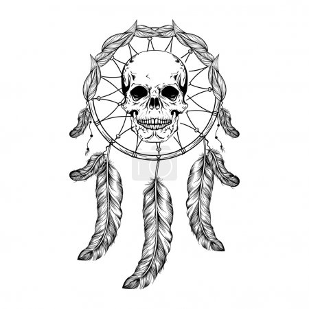 Illustration for Dream catcher with feathers and leafs, skull in center maden in line art style, high detailed ritual thing. American boho spirit. Hand drawn sketch vector illustration for tattoos or t-shirt print. - Royalty Free Image