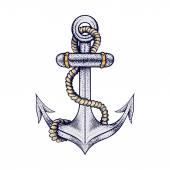 Hand gezeichnet elegante Schiff Meer Anker mit Seil, farbige Skizze für