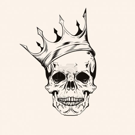Hand drawn sketch scull with crown tattoo line art. Vintage vect