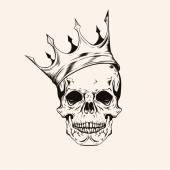 Hand drawn sketch scull with crown tattoo line art Vintage vect