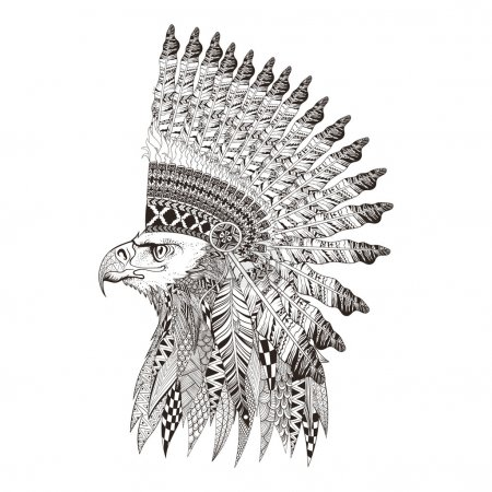 Illustration for Zentangle stylized head of eagle in feathered war bannet. Hand Drawn doodle vector illustration isolated on white background. Sketch for tattoo or indian makhenda design. - Royalty Free Image