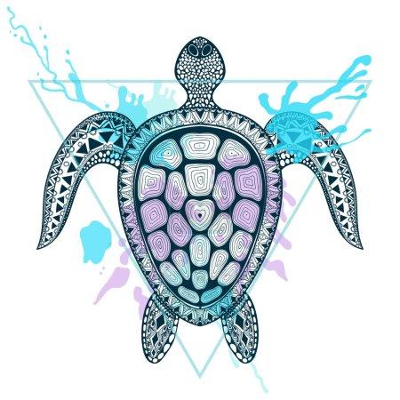 Zentangle stylized Ocean Turtle in triangle frame with watercolo