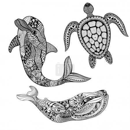 Zentangle stylized set sea animals. Black dolphin, whale and tur