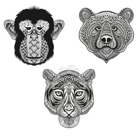 Zentangle stylized Tiger, Monkey, Bear faces. Hand...