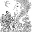Forest fairy with wreath on head hugging swan in f...