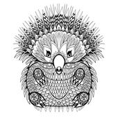 Hand drawn Echidna Australian animal illustration for antistress Coloring Page with high details isolated on white background in zentangle style Vector monochrome sketch