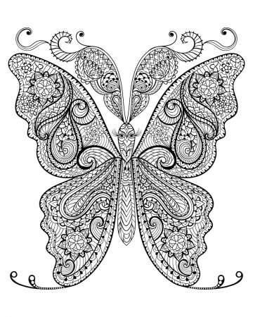 Hand drawn magic butterfly  for adult anti stress Coloring Page