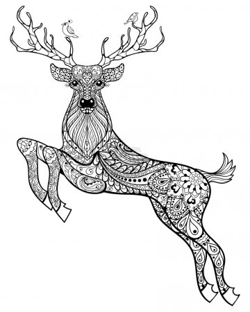 Illustration for Hand drawn magic horned deer with birds for adult anti stress Coloring Page with high details isolated on white background, illustration in zentangle style. Vector monochrome sketch. Animal collection. - Royalty Free Image