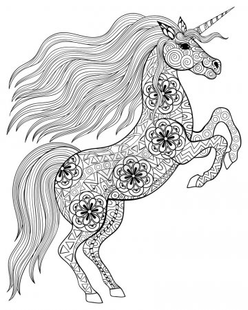 Hand drawn magic Unicorn for adult anti stress Coloring Page wit