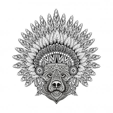 Illustration for Hand Drawn patterned Bear in zentangle style in  Feathered War bonnet, high datailed headdress for Indian Chief. American boho spirit. Vintage sketch, vector illustration for tattoos, t-shirt print. - Royalty Free Image