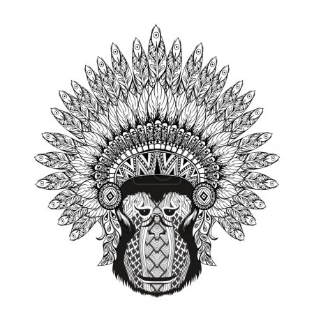 Hand Drawn patterned Monkey in zentangle style with Feathered Wa
