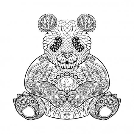 Hand drawn tribal Panda, animal totem for adult Coloring Page in