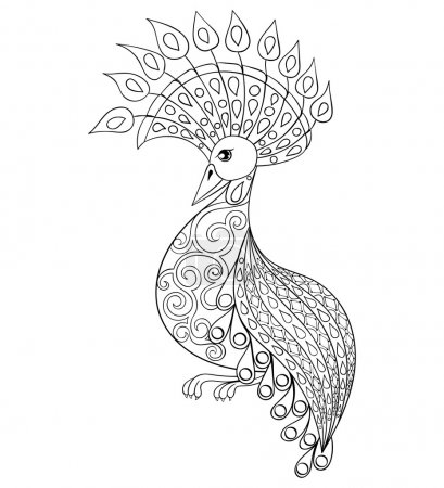Coloring page with Bird, zentangle illustartion bird  for adult