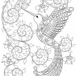 Coloring page with Hummingbird, zentangle flying b...