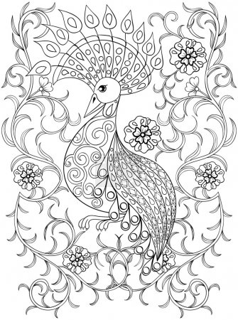 Coloring page with Bird in flowers, zentangle illustartion bird