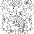 Coloring page with Bird in flowers, zentangle illu...