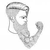 The serious man with a long beard in the form of a hand and a fi