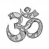 Hand drawn Ohm symbol indian Diwali spiritual sign Om with high