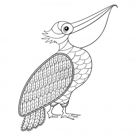 Coloring page with Pelican, zentangle illustartion for adult Col