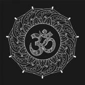 Hand drawn Ohm symbol indian Diwali spiritual sign Om elegant r