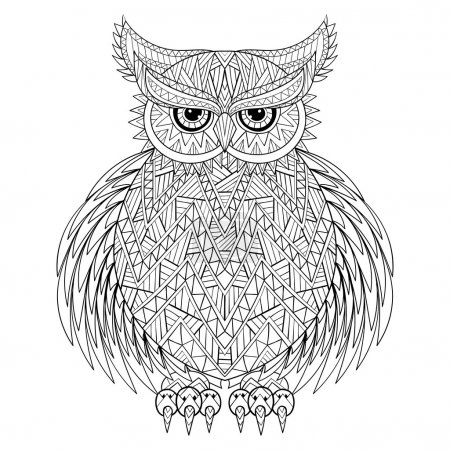 Hand drawn zentangle Owl, bird totem for adult Coloring Page in