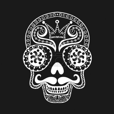 Illustration for Vector  Dead Skull illustration, Hand drawn Skull in zentangle style, tribal totem for tattoo, adult Coloring Pagewith high details isolated on black background. - Royalty Free Image