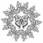 Zentangle vector circle of flying Butterflies for adult anti str