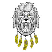 Vector ornamental Lion with dreamcatcher ethnic patterned head