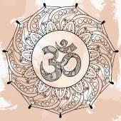 Zentangle Ohm symbol in round Indian Mandala tattoo design in d