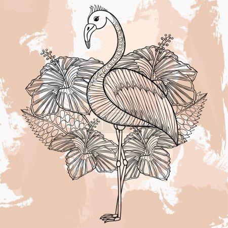 Zentangle vector Flamingo in hibiskus, tattoo design in doodle s