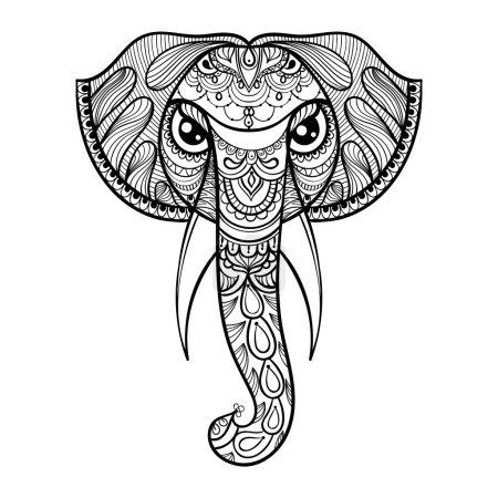 Illustration pour Tête ornementale vectorielle d'éléphant, mascotte ethnique zentangée, amulette, tatouage au henné. Animal à motifs pour adultes anti stress pages à colorier. Illustration totem dessinée à la main isolée sur fond . - image libre de droit