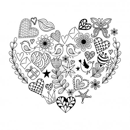 Hand drawn artistically ethnic ornamental patterned heart with r