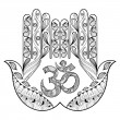 Hand drawn protection hamsa hand for adult colorin...
