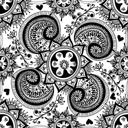Hand drawn Abstract seamless gzhel pattern for adult coloring pa