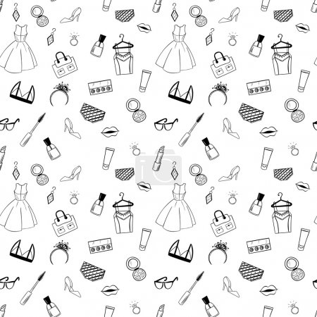 Hand drawn Fashion seamless pattern for adult coloring pages in