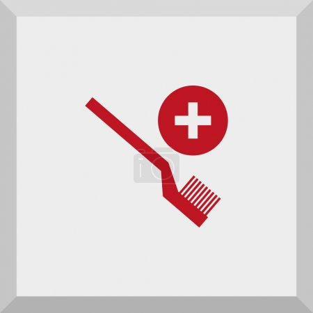 Icon of medical symbol with toothbrush