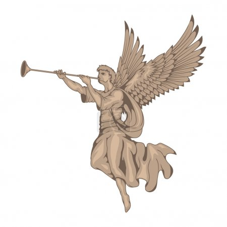 Illustration for Angel with wings and trumpet. Vector illustration - Royalty Free Image