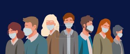Illustration pour Vecteur avec des adultes illustratifs dans des masques médicaux sur bleu, concept de coronavirus - image libre de droit