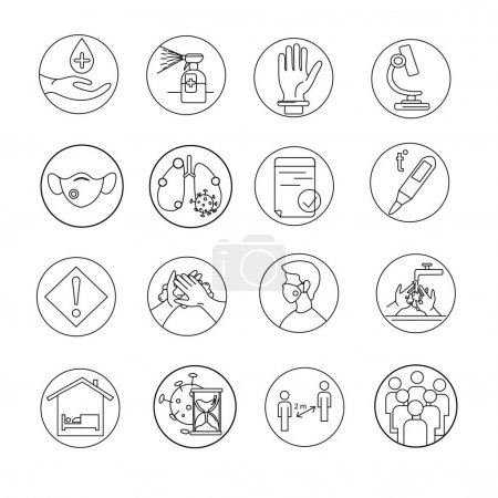 Illustration for Vector of different coronavirus icons on white - Royalty Free Image