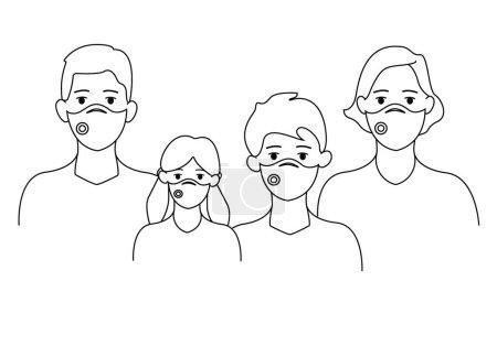 Illustration pour Vecteur avec famille illustrative dans les masques médicaux sur blanc, concept de coronavirus - image libre de droit