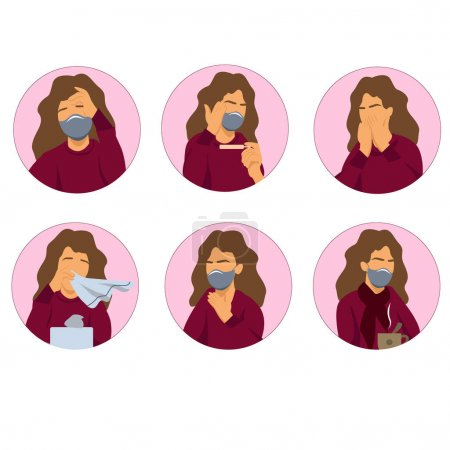 Illustration for Vector coronavirus icons with illustrative woman with coronavirus symptoms on white - Royalty Free Image